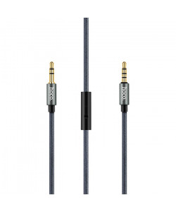 AUX Кабель 3.5mm Hoco UPA04 - 1 м (Серый) + Микрофон