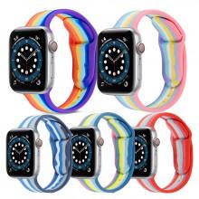 Ремешок силиконовый Apple Watch 44mm Rainbow (Размер S/L)