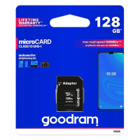 Карта памяти Micro SD 128GB (Class 10) + Adapter Goodram