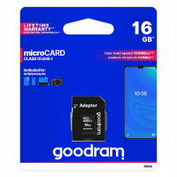 Карта памяти Micro SD 16GB (Class 10) + Adapter Goodram