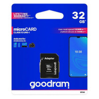 Карта памяти Micro SD 32GB (Class 10) + Adapter Goodram