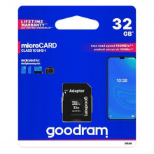 Карта памяти Micro SD 32GB (Class 10) + Adapter Goodram