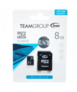 Карта памяти Micro SD 8GB (Class 4) + Adapter – Team