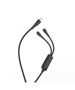 USB кабель Hoco U102 1,2m 5A 100W Type-C на Type-C+Lightning черный