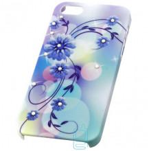 Чехол пластиковый Protective Apple iPhone 5 blue flowers