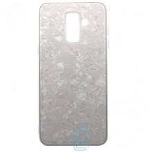 Чехол накладка Glass Case Мрамор Samsung A6 Plus 2018 A605 белый
