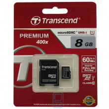 Карта памяти micro SD Transcend 8GB class 10 + SD adapter