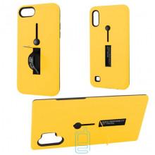 Чехол противоударный Metal Kickstand Soft Touch с держателем Huawei P30 Lite желтый