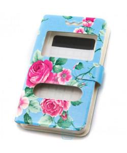Универсальный чехол-книжка 2 окна print 3.8-4.3 roses blue