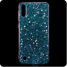 Чехол силиконовый Конфетти Samsung A10 2019 A105 голубой