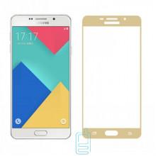 Защитное стекло Full Screen Samsung A7 2016 A710 gold тех.пакет