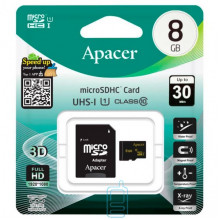 Карта памяти micro SD Apacer 8Gb class 10 + SD adapter