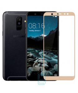 Защитное стекло 5D Samsung A6 Plus 2018 A605 gold тех.пакет