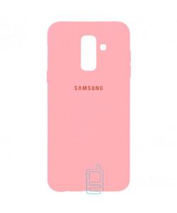 Чехол Silicone Case Full Samsung A6 Plus 2018 A605 розовый