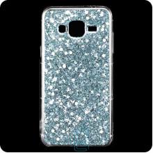 Чехол силиконовый Конфетти Samsung J3 2015 J300 серебристый