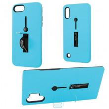 Чехол противоударный Metal Kickstand Soft Touch с держателем Huawei P30 голубой