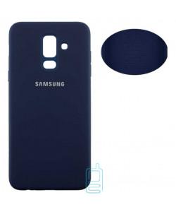 Чехол Silicone Cover Full Samsung A6 Plus 2018 A605 синий