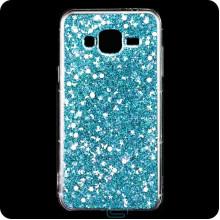 Чехол силиконовый Конфетти Samsung J3 2015 J300 голубой