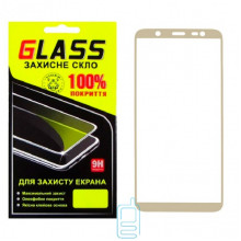 Защитное стекло Full Screen Samsung J8 2018 J810 gold Glass