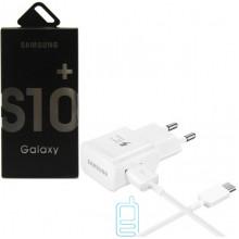 Сетевое зарядное устройство Samsung S10 Fast charger 1USB 5V-2.0A 9V-1.6A Type-C white картон
