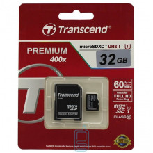 Карта памяти micro SD Transcend 32GB class 10 + SD adapter