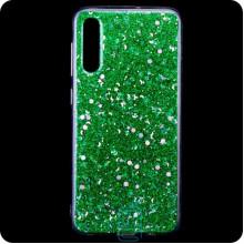 Чехол силиконовый Конфетти Samsung A70 2019 A705 зеленый