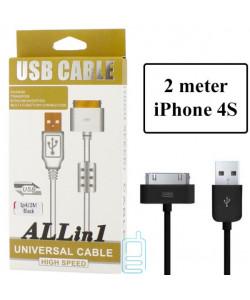 USB кабель ALLin1 Apple 30pin с ферритом 2m черный