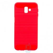 Чехол силиконовый Polished Carbon Samsung J6 Plus 2018 J610 красный