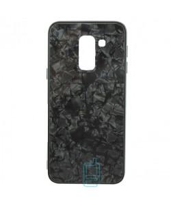 Чехол накладка Glass Case Мрамор Samsung A6 Plus 2018 A605 черный