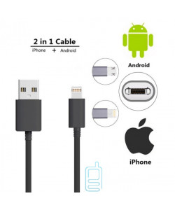 USB Кабель Double sided 2in1 Lightning, micro USB черный
