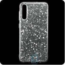Чехол силиконовый Конфетти Samsung A50 2019 A505 серебристый