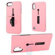 Чехол противоударный Metal Kickstand Soft Touch с держателем Huawei P30 Lite розовый