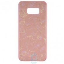Чехол накладка Glass Case Мрамор Samsung S8 Plus G955 розовый
