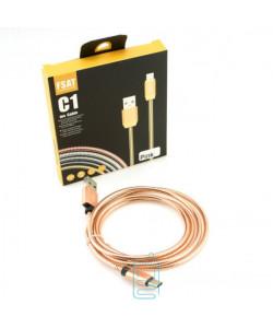 USB кабель C1 Fast 2.4A Type-C 1m розовый