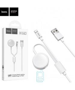 USB Кабель Hoco U69 2in1 Lightning + зарядное устройство для Apple Watch 1.2М белый