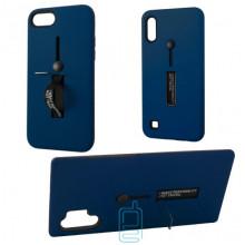 Чехол противоударный Metal Kickstand Soft Touch с держателем Samsung A7 2018 A750 тёмно-синий