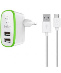 СЗУ + Micro USB Belkin 2USB 2.1A F8M670krWHT (Белый)