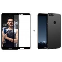 Бампер + 3D стекло Huawei Honor 7X – Black (Комплект)