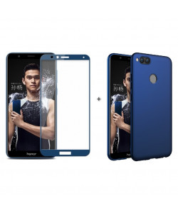 Бампер + 3D стекло Huawei Honor 7X – Blue (Комплект)