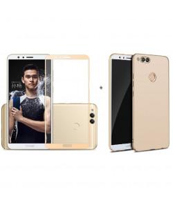 Бампер + 3D стекло Huawei Honor 7X – Gold (Комплект)
