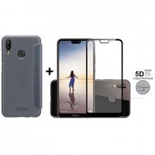 Чехол-Книжка + 5D Стекло Huawei P20 Lite (Комплект)