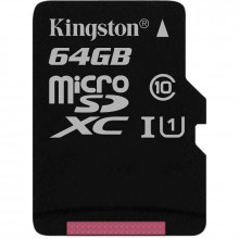 Карта памяти 64 Gb MicroSD Kingston Class 10 + Адаптер