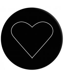 Popsocket 4M Белое сердце на черном + Автодержатель