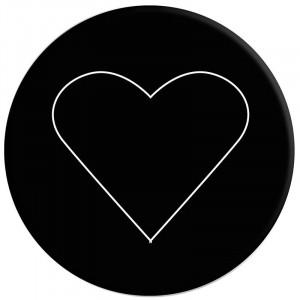Popsocket 3M Белое сердце на черном + Автодержатель