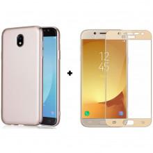 Бампер + 3D Стекло Samsung J3 2017 – Gold (Комплект)
