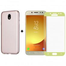 Бампер + 3D Стекло Samsung J5 2017 – Gold (Комплект)