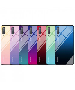Чехол Samsung A7 2018 градиент TPU+Glass