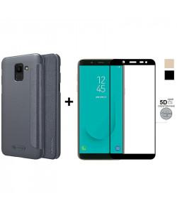 Чехол-Книжка + 5D Стекло Samsung J6 2018 J600 (Комплект)