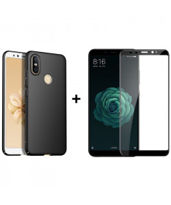 Бампер + 3D Стекло Xiaomi Mi A2 (Mi 6X) – Black (Комплект)