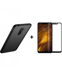 Бампер + 3D Стекло Xiaomi Pocophone F1 – Black (Комплект)